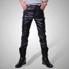 shiny faux leather skinny pants for men