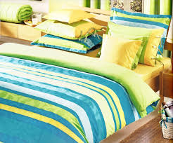 blue and green striped bedding