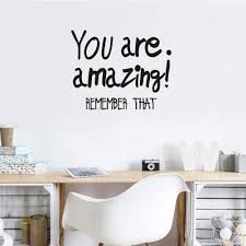 Amazon Com Toarti You Are Amazing Quote Wall Sticker Motivational Lettering Saying Quotes For Office Decoration Positive Large Mirror Sticker Home Wall Art Home Kitchen