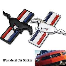 1pcs 3d Black Silver Metal Horse Car Sticker Chrome Badge Emblem Car Sticker Decal Car Styling Decoration Wish