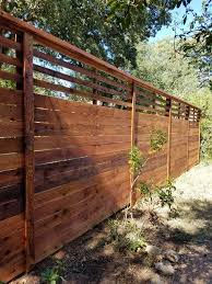 8 Foot Custom Horizontal Fence With Slat Top Stained Wood Fence Design Privacy Fence Designs Backyard Fences