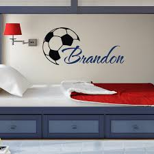 Custome Boys Name Wall Decals With Soccer Art Wall Stickers Personalized Home Kids Room Decor Vinyl Wallpaper Diy Poster W 372 Huge Wall Stickers In This Home Wall Decal From Fashion Wallart 7 87