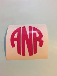 Vinyl Monogram Circle Monogram Vinyl Decal Sticker Yeti Cup Etsy
