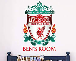 Amazon Com Liverpool Football Club Personalised Name Crest Wall Decal Lfc Wall Sticker Set 90cm Height Baby