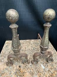 antique fireplace andirons bronze over