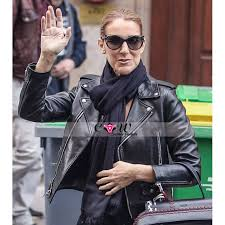 celine dion biker leather jacket