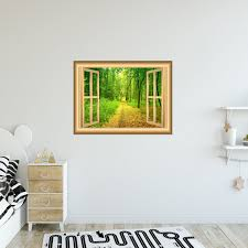 3d Forest Window Wall Decal Outdoors Wall Decor Peel And Stick Mural