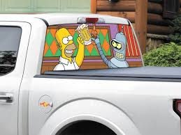 Product Bender Futurama Homer Simpson Tv Shows Rear Window Decal Sticker Pick Up Truck Suv Car Any Size