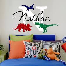 Amazon Com Nursery Boys Name And Initial Dinosaurs Personalized Name Wall Decal 20 W By 13 H Boys Nursery Name Decals Dinosaur Wall Decals Boys Room Wall Stickers Decals For Boys Plus Free