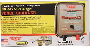 Amazon Com Parmak Mag12 Uo 12 Volt Magnum Low Impedance Battery Operated 30 Mile Range Electric Fence Charger Weatherproof Indoor Outdoor Ideal For Livestock Or Predator Control 3 Yr Warranty Made In Usa Agricultural Livestock Electric