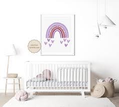 Purple Rainbow Print Nursery Rainbow Wall Art Pastel Rainbow Etsy