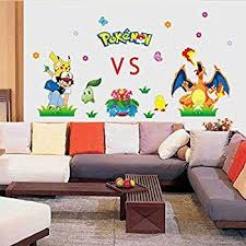 Fangeplus Tm Diy Removable Pokemon Digimon Pikachu Vs Charizard Art Mural Vinyl Waterproof Wall Stickers Kids Room Decor I Get A Small Portion Of Pared Arboles