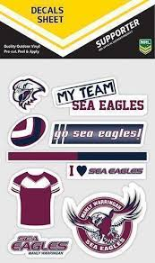 Manly Sea Eagles Nrl Set Of 9 Mixed Decals Car Stickers Itag Teams Nrl Guy Stuff