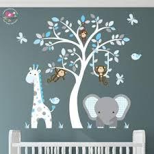 Jungle Decal Aqua Blue And Grey Nursery Swinging Monkey Etsy