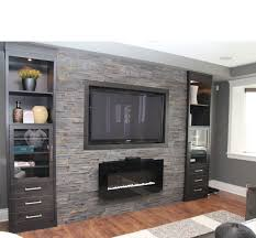 tv and fireplace on feature wall