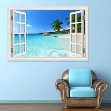 Modern Summer Beach Coconut Tree 3d Wall Sticker Seaside Landscape Removable Wallpaper Window View Decal Stickers Home Decor Stickers Home Decor Home Decorremovable Wallpaper Aliexpress