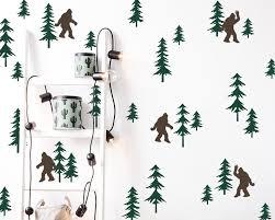 Friendly Sasquatch In The Forest Wall Decal Set Bigfoot Decals Forest Decals Pine Tree Decals Woodland Nursery Decals Sasquatch Decals