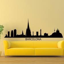 Shop Barcelona Skyline Silhouette Vinyl Wall Art Decal Sticker Overstock 10425549