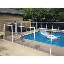 Sentry Safety Pool Fence 5 Ft X 10 Ft White Removable Child Barrier Pool Safety Mesh Fence Visiguard 5 White The Home Depot