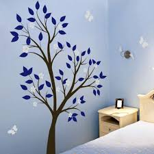 Blue Tree To Spruce Up The Living Room Perhaps By The Couch Kids Room Wall Decals Tree Wall Decal Butterfly Wall Decals