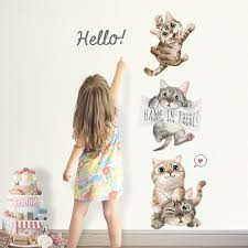 Super Deal 98e71 Four Cute Cat Wall Sticker Children S Kids Room Home Decoration Removable Wallpaper Living Room Bedroom Mural Kitty Stickers New Cicig Co