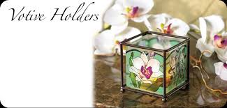 hand painted glass art votive holders