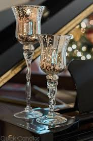 3 mercury glass pedestal candle holders