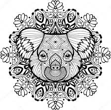 Totem Coloring Page For Adults The Head Of The Koala Stock