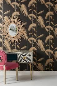 palm leaves black gold wallpaper