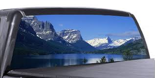 Mountain Scene Universal Truck Rear Window 50 50 Perforated Vinyl Deca Roe Graphics And Apparel