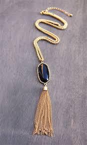 stone gold fringe tassel pendant necklace