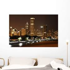 Amazon Com Wallmonkeys Chicago Skyline Wall Decal Peel And Stick Graphic Wm209357 48 In W X 32 In H Home Kitchen