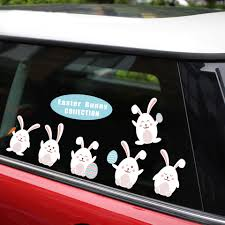 New Removable Reusable Sticker For Happy Easter Bunny Cute Rabbit Car Stickers And Decals Car Styling Window Creative Stickers Car Stickers Aliexpress