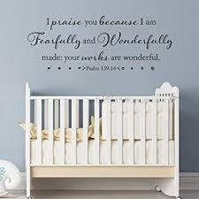 Amazon Com Battoo I Am Fearfully And Wonderfully Made Psalm 139 14 Vinyl Wall Decal Bible Verse Wall Decal Scripture Wall Art Nursery Wall Decal 50 W By 19 H Custom Furniture Decor