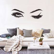 Amazon Com Creative Eyelash Wall Decal Stickers Home Decoration Bedroom Living Room Decor Sofa Tv Background Diy Art Decals For Women Girl Home Kitchen
