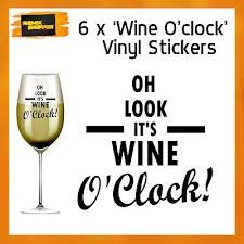 6 X Gin O Clock Vinyl Decal Wine Tumbler Drinking Glass Stickers