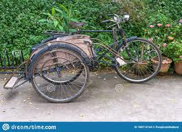 Ancient Tricycle Bicycle Antique And Vintage With Parking At Green Fence Background Local Tricycle Bicycle Asian Style Thailan Stock Photo Image Of Green Motor 186714144