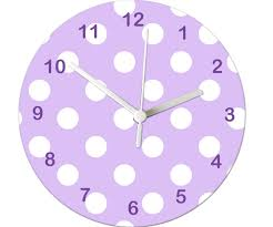 Purple Spot Clock Girls Wall Clock Girls Room Clock Non Ticking Clock Kids Room Clock Tell The Time Clock Clock For Kids Childrens Wall Clock Childrens Clock