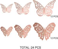 Wall Stickers Murals Home Kitchen 24piece Butterfly Wall Sticker Mixed 3d Butterflies Wall Decals Vivid Flash Wall Stickers For Home Bedroom Baby Room Decoration Rose Gold