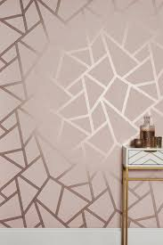 blush metallic geo wallpaper pink