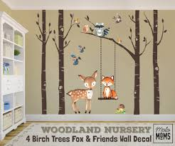 Woodland Nursery Wall Decor 4 Birch Trees Fox Friends Wall Decal Motomoms Decor