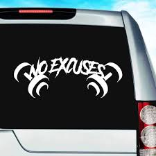 No Excuses Dumbbells Bodybuilding Weigh Lifting Decal Sticker