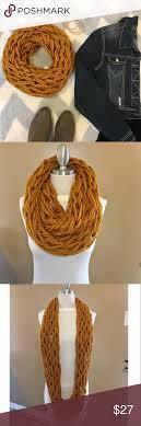 Infinity Scarf Beautiful, cozy & warm infinity scarf. Arm Knitted pattern.  Handmade by Myrna. 80% acrylic 20% woo… | Clothes design, Scarf accessory,  Fashion design