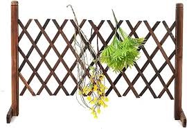 Zhicaikeji Garden Fence Decorations Expanding Portable Fence Wooden Screen Gate Pet Patio Garden Lawn Barrier Picket Fence Panels Color Coffee Size Ones Amazon Co Uk Kitchen Home