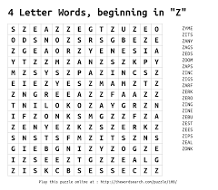 word search on 4 letter words