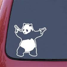 Banksy Shooting Panda Car Vinyl Decal Sticker White 5 75 W X 6 H Guns Panda Walmart Com Walmart Com