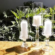 baer stem glass pillar candle holders