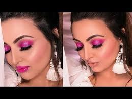 hot pink glittery smokey eye makeup