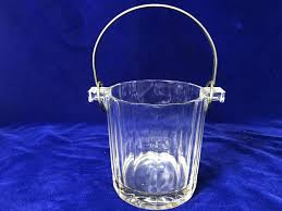 vintage glass ice bucket with silver