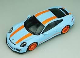 Porsche 911r 2016 Gulfblue With Orange Stripes Orange Side Decal Diecast Car Hobbysearch Diecast Car Store